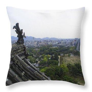 Himeji City From Shogun's Castle Throw Pillow