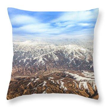 Hindu Kush Snowy Peaks Throw Pillow