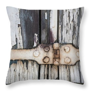 Throw Pillow featuring the photograph Hinge On Old Shutters by Elena Elisseeva