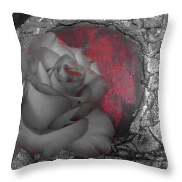 Hints Of Red - Rose Throw Pillow