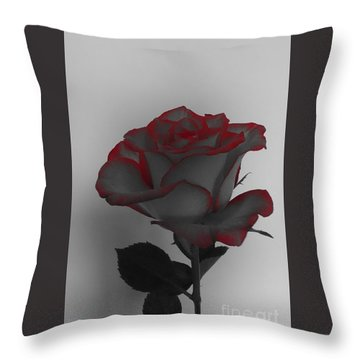 Hints Of Red- Single Rose Throw Pillow