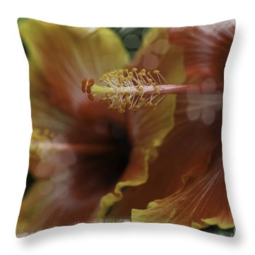Hippi Hibiscus Throw Pillow