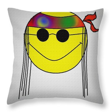Hippie Face Throw Pillow by Bill Cannon