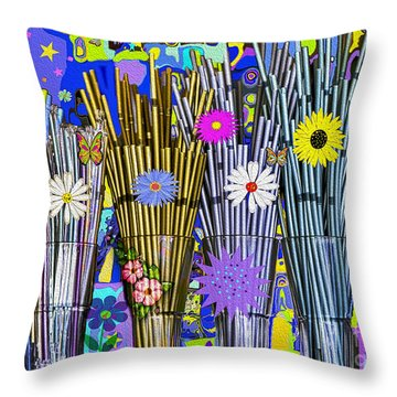 Hippie Hippie Straws Throw Pillow