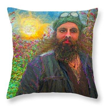 Hippie Mike Throw Pillow