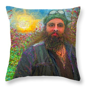 Hippie Mike Throw Pillow