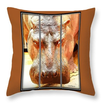 Hippo Cartoon Throw Pillow by Ericamaxine Price
