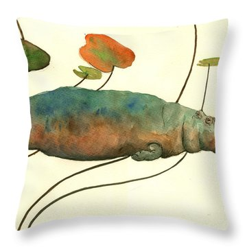 Hippo Swimming With Water Lilies Throw Pillow by Juan  Bosco
