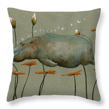 Hippo Underwater Throw Pillow by Juan  Bosco