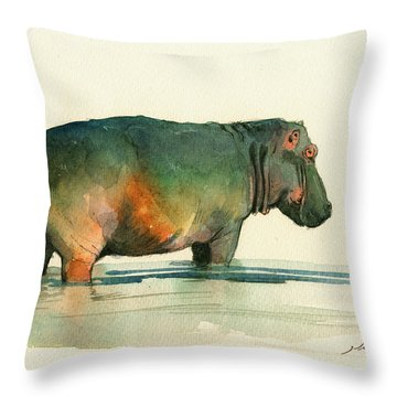 Hippo Watercolor Painting Throw Pillow by Juan  Bosco