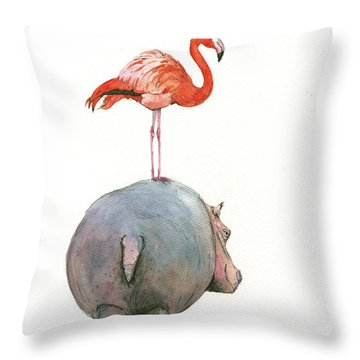 Hippo With Flamingo Throw Pillow