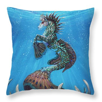 Hippocampus Throw Pillow