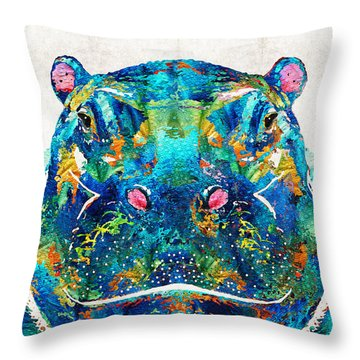 Hippopotamus Art - Happy Hippo - By Sharon Cummings Throw Pillow by Sharon Cummings