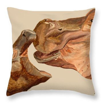 Hippos Throw Pillow