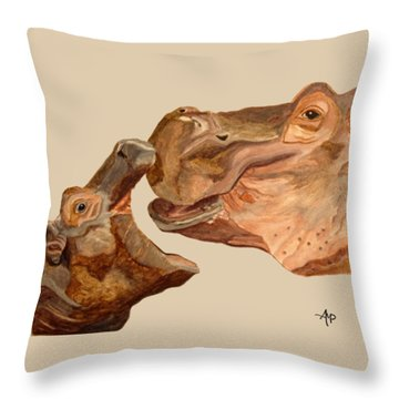 Throw Pillow featuring the painting Hippos by Angeles M Pomata