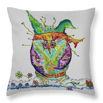Hippy Owl- Vertical Format Throw Pillow