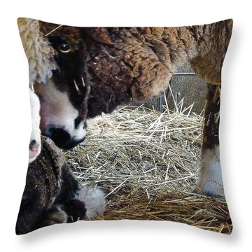 Hiram And Mom Throw Pillow by Julia Hassett