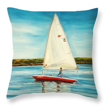Throw Pillow featuring the painting His Laser by Elizabeth Robinette Tyndall