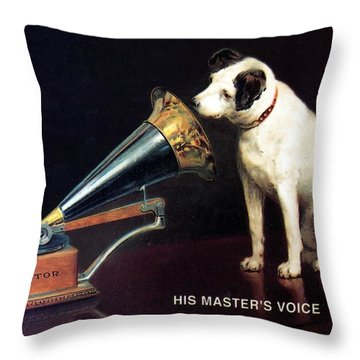 His Master's Voice - Hmv - Dog And Gramophone - Vintage Advertising Poster Throw Pillow
