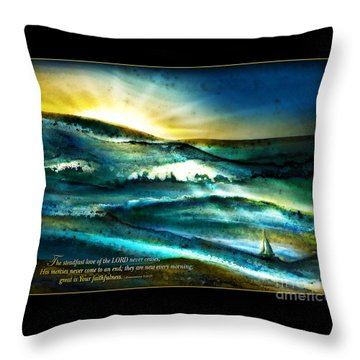 His Mercies Are New Every Morning -verse Throw Pillow by Shevon Johnson