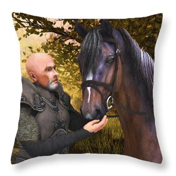 Throw Pillow featuring the digital art His Noble Steed by Jayne Wilson