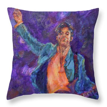 His Purpleness - Prince Tribute Painting - Original Art Throw Pillow