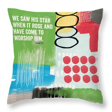 His Star Rose- Contemporary Christian Art By Linda Woods Throw Pillow