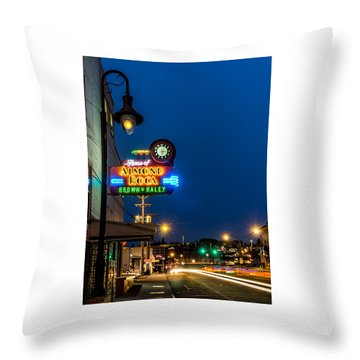 Historic Almond Roca Co. During Blue Hour Throw Pillow