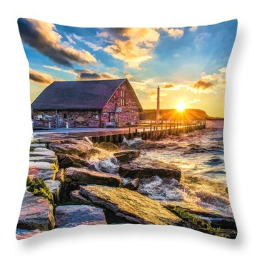 Historic Anderson Dock In Ephraim Door County Throw Pillow by Christopher Arndt