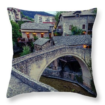 Historic City Of Mostar Throw Pillow