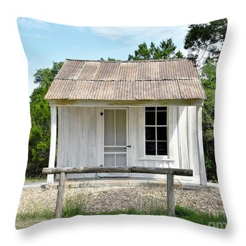 Throw Pillow featuring the photograph Historic Clint's Cabin by Ray Shrewsberry