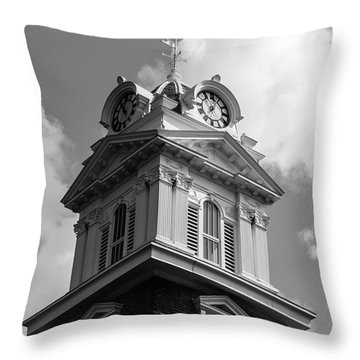 Historic Courthouse Steeple In Bw Throw Pillow