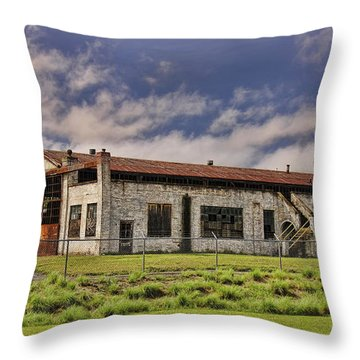 Historic Curtiss Wright Hanger Throw Pillow by Steven Richardson