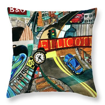 Historic Ellicott City Steam And Stone Throw Pillow