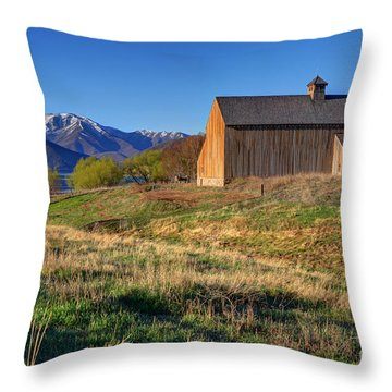 Historic Francis Tate Barn - Wasatch Mountains Throw Pillow