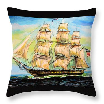 Historic Frigate United States Throw Pillow