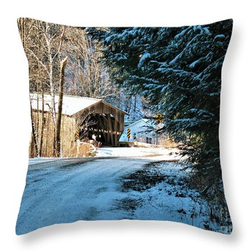 Historic Grist Mill Covered Bridge Throw Pillow