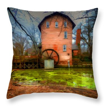 Historic Grist Mill In Hobart, In Throw Pillow