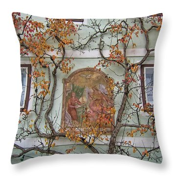 Historic House Facade In Bad Goisern Hallstatt Salzkammergut Aus Throw Pillow by Menega Sabidussi