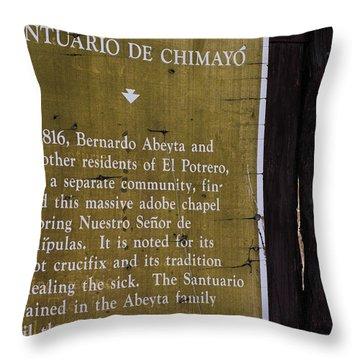 Historic Marker For The Santuario Throw Pillow