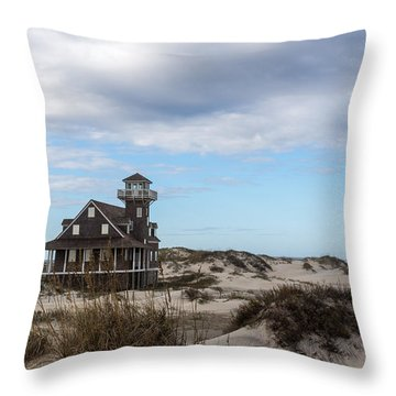 Throw Pillow featuring the photograph Historic Oregon Inlet Lifesaving Station by Gregg Southard