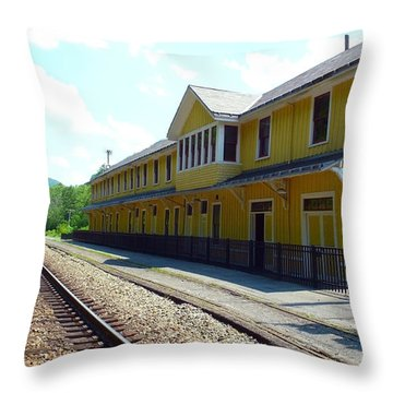 Historic Passenger Train Depot Thurmond West Virginia Throw Pillow by Thomas R Fletcher