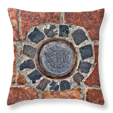 Throw Pillow featuring the photograph Historic Pavement Detail With Hungarian Town Seal by Menega Sabidussi