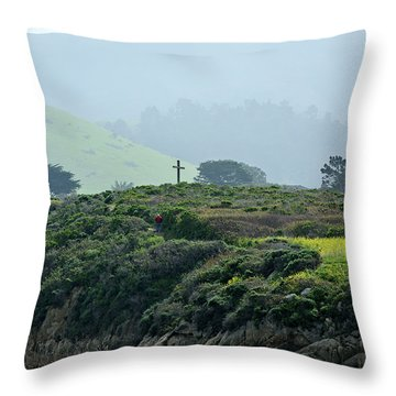 Historic Portola Cross In Carmel Throw Pillow