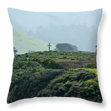 Historic Portola Cross In Carmel Throw Pillow