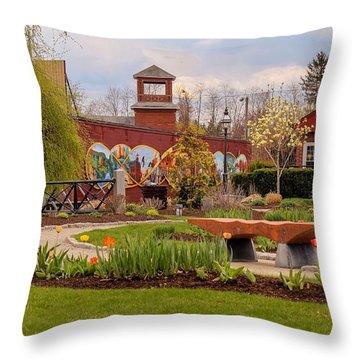 Historic Rail Station, Manhan Rail Trail Easthampton Throw Pillow