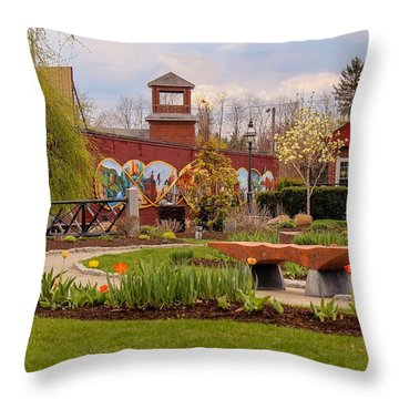 Historic Rail Station, Manhan Rail Trail Easthampton Throw Pillow