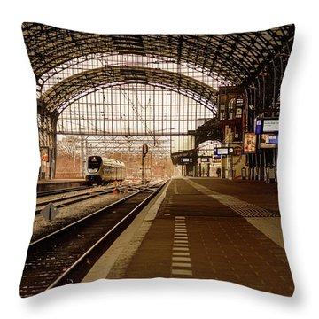 Historic Railway Station In Haarlem The Netherland Throw Pillow by Yvon van der Wijk