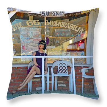 Historic Route 66 Memorabilia Throw Pillow