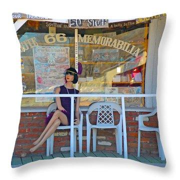 Historic Route 66 Memorabilia Throw Pillow